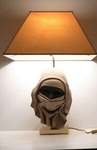 MID CENTURY LUXURY TABLE LAMP LEATHER ARABIAN  MASK SIGNED POURBAIX