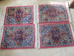 """4 Vtg. SHABBY ORIENTAL STYLE Wool MACHINE MADE RUGS ~24""""x17"""" ~FREE SHIPPING"""