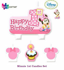 MINNIE MOUSE 1ST BIRTHDAY PARTY SUPPLIES CANDLE MINI MOULDED PACK OF 4
