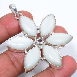 "White Coral & White Topaz Gemstone 925 Sterling Silver Pendant 2.34"" S2621"