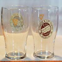 """Lot of 2 Guinness Porter Dublin Beer Tulip Style Glasses 20 oz 6 1/4"""" Tall"""