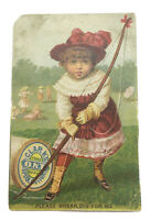 ANTIQUE TRADE CARD ADVERTISING CLARK'S O.N.T. Black Spool Cotton AS IS