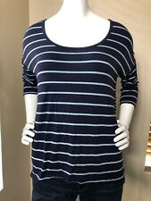 Cynthia Rowley Blue Striped 3/4 Sleeve Top Size Small S