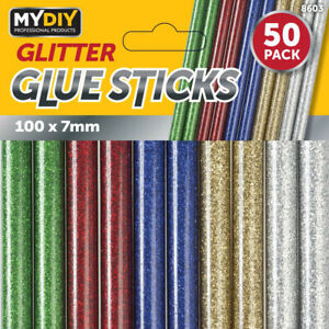 50 Pack Glitter Glue Stick for Electric Hot Melt Mini Glue Gun with Trigger 7mm