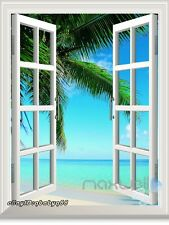 Large Palm Tree Beach 3D Window View Removable Wall Decals Sticker Home decor