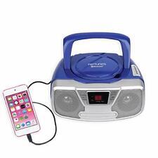 Riptunes CD Player Portable Boombox Radio AM FM Bluetooth Retro Music Aux Blue