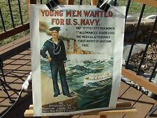 "PRINT OF WWII NAVY RECRUITMENT POSTER NAMED ""YOUNG MEN WANTED FOR U.S. NAVY"""