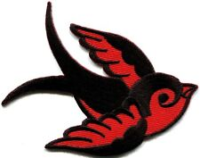 Lot of 2 bird tattoo swallow dove sparrow biker appliques iron-on patches red B