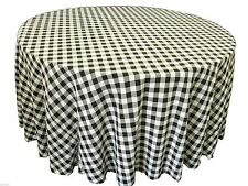"""5 Checkered 120"""" Round Tablecloths Gingham Buffalo Check Polyester 5ft Picnic"""