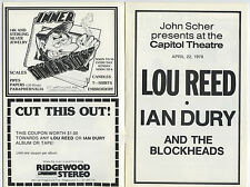 Lou Reed Ian Dury Authentic 1978 Concert Program