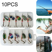 10Pcs Spinners Fishing Lures Tackle Hooks Crankbait Sea Perch Salmon Pike Trout