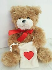 """7"""" Teddy Bear With Heart Pouch Sack Valentines Day Anniversary Stuffed Animal"""