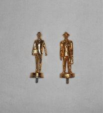 (2) Businessman Vintage Trophy Topper Award Briefcase Figure Solid Metal GTone