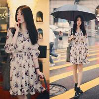 Women V Neck Long Sleeve Floral Chiffon Tunic A Line Party Mini Skater Dress