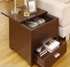 Side Table Drawer Living Room Accent Furniture Wood Shelf Storage Espresso End