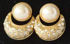 GOLDTONE Vintage NEW Pierced PEARL & Rhinestone EARRINGS P73 $18 retail in 1981