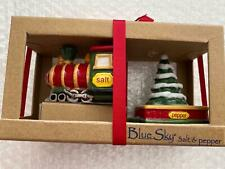 Blue Sky Clayworks Train Tree Christmas Holiday Salt Pepper Shakers Boxed