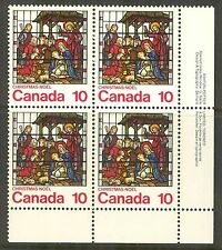 Canada #698, 1976 10c Christmas Nativity Stained-Glass Window, LR PB4 MH