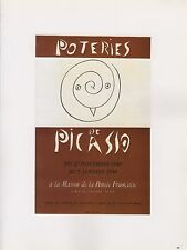 "1989 VINTAGE ""POTERIES DE PICASSO"" MOURLOT MINI POSTER Color offset Lithograph"