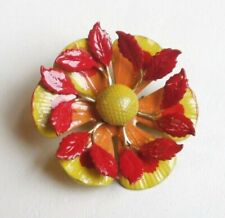 FASH Pin Hand Made VTG Style Tiered Flower Leaf Enamel Yellow Red Amber SWEET 1!
