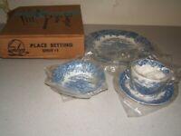 English Village Blue by Salem, Blue Village & Flowers Transferware Place Setting