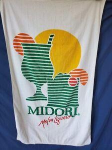 "Rare Vintage beach towel 1980s MIDORI MELON LIQUEUR 56 x 35"""