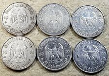 UNIQUE 6 x Full Mint Set 5 ReichsMark Potsdam Church 1935 Nazi Silver Coin L 1