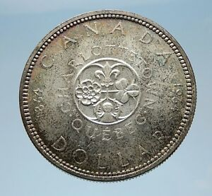 1964 CANADA Quebec Charlottetown Commemorative BIG SILVER Dollar Coin i65582