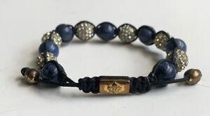 RARE NIALAYA SWAROVSKI CRYSTAL RHINESTONE BEAD 925 STERLING SILVER BRACELET BLUE