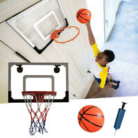 Mini Basketball Hoop System Kids Goal Over The Door Indoor Sports with Ball+Pump