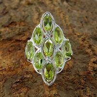 Natural Peridot gemstone Ring 925 Sterling Silver Handmade Ring Size 9
