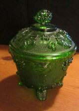Vintage Jeannette Glass Green Depression Grape Pattern Footed Candy Dish