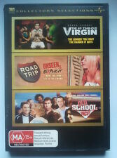 THE 40 YEAR-OLD VIRGIN/ROAD TRIP/OLD SCHOOL - 3-Pack DVD - VGC
