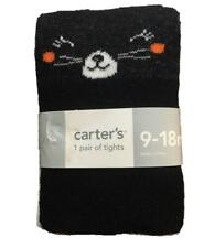 Baby Girls Carter's Halloween Knit Tights Black Cats Size 0-9 9-18 Mo Nwt
