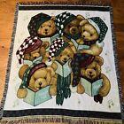 """Vintage American Weavers """"Caroling Bears"""" Christmas Tapestry 50"""" X 60"""""""