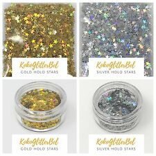 Holographic Gold Silver Glitter Stars | Acrylic Gel Nail Art Sparkles| 3mm Size