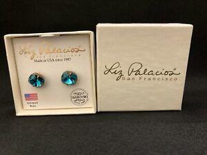 Liz Palacios Blue Topaz Swarovski Crystal Post Earrings Antiqued Brass - Boxed