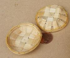 1:12 Échelle Deux Fait Main Bambou Paniers Maison De Poupées Miniature