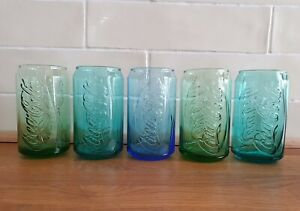 5 Embossed COCA COLA CAN GLASSES - Coke Limited Editions - From McDonalds - New