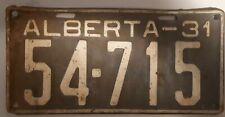 ALBERTA LICENSE Plate 1931 Original, Not Restored