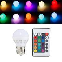 3W E27 RGB LED Lampe Licht Dimmbar Farbwechsel Glühbirne-Fernbedienung w/