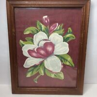 Vintage Paint by Number PBN Magnolia Completed Framed 14.5 x 18.5 White Burgundy