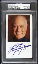 1970s Larry Hagman Dallas Signed 3x5 Index Card (PSA/DNA Slabbed)