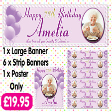 PERSONALISED PHOTO BIRTHDAY PARTY BANNER PACKS ANY AGE NAME EVENT A011