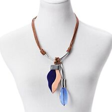 """Designer Inspired Blue Chroma, Wooden Pendant on Brown Faux Leather Necklace 24"""""""