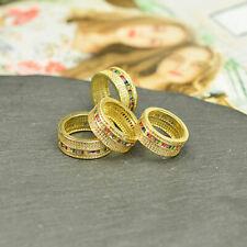 Rainbow Men Women Luxury CZ Zircon Crystal Lover Fashion Wedding Rings Jewelry