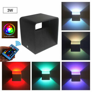 3W RGB LED Wall Light Up Down Sconce Lighting Lamp Fixture Bedside Decor+Remote
