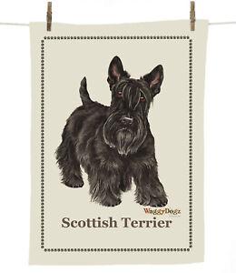 Waggy Dogz cd206 Scottish Terrier/Scottie Dog Breed 100%Cotton Tea Towel 67x47cm