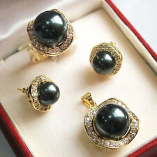 Pearl Earrings Ring Necklace Pendant Set 17� 10mm & 14mm black South sea Shell