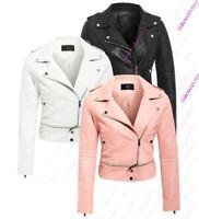 Womens Faux Leather Biker Jacket Ladies Zipped Crop Size 8 10 12 14
